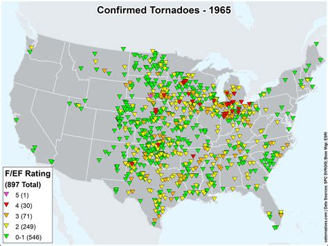 map of tornadoes today us tornadoes map1965 u s tornadoes
