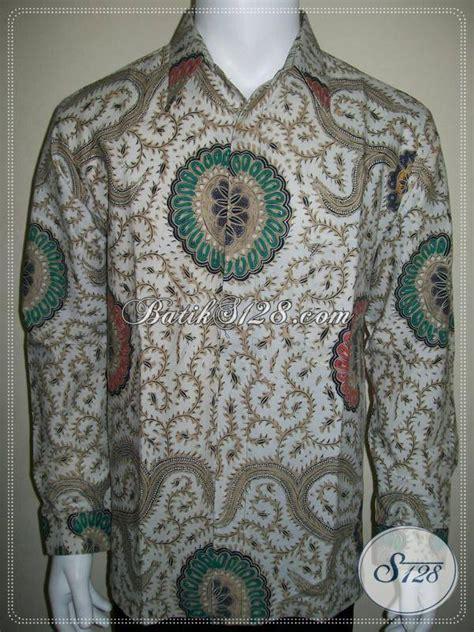 Batik Tulis Motif Babon Angkrem batik klasik modern pria dasar putih lengan panjang motif