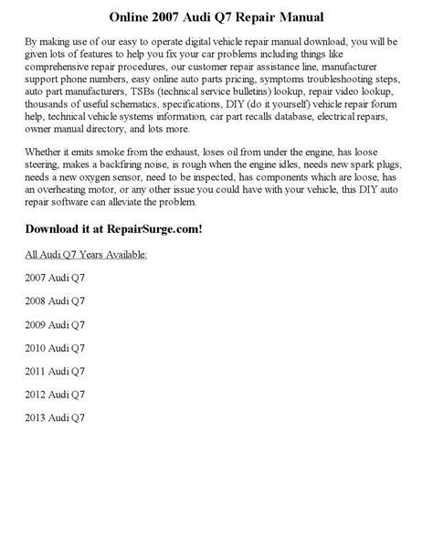 online auto repair manual 2007 audi q7 security system 2007 audi q7 repair manual online by clark0951 issuu