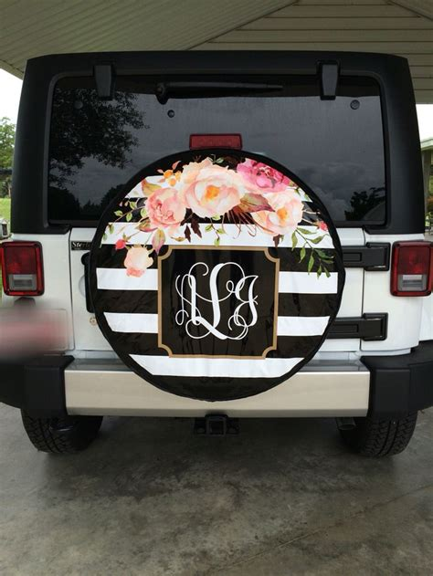 jeep beer tire cover striped floral print monogram jeep tire cover jeeps