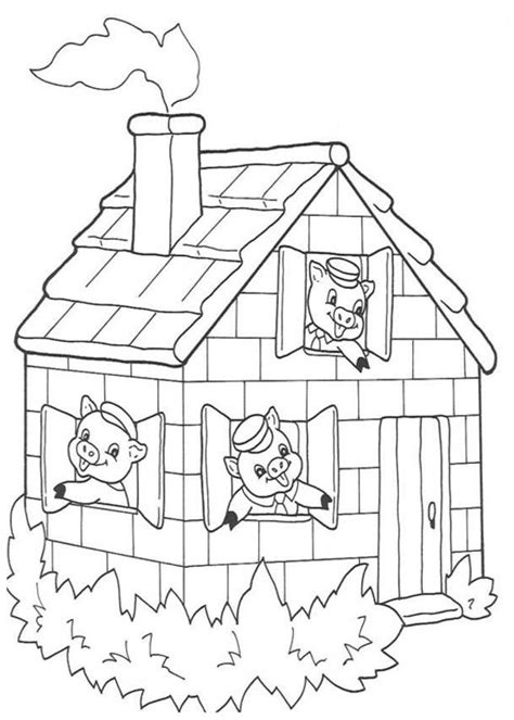 free coloring pages of 3 little pigs stick house