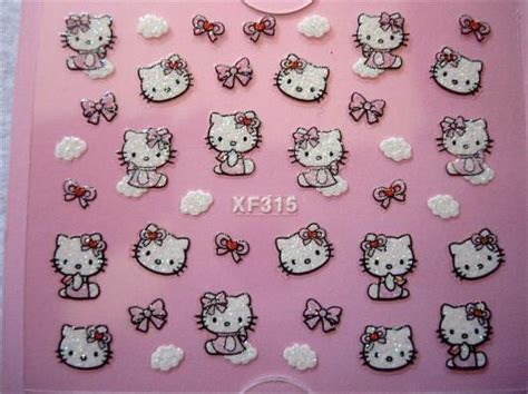 Nail Sticker Cloud D 1015 hello pink ribbon bow cloud nail sticker 3d decal