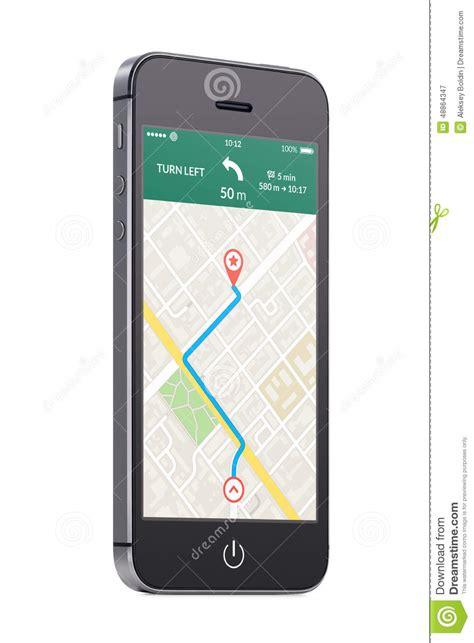 mobile phone navigation apps black modern mobile smart phone with map gps navigation