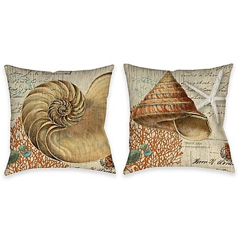 bed bath and beyond outdoor pillows vintage seaside shell indoor outdoor throw pillow in beige bed bath beyond