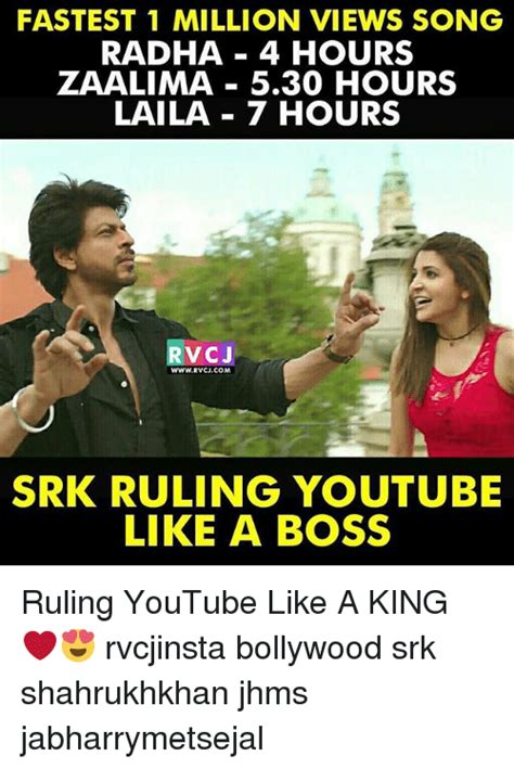 song 5 hours fastest 1 million views song radha 4 hours zaalima 530