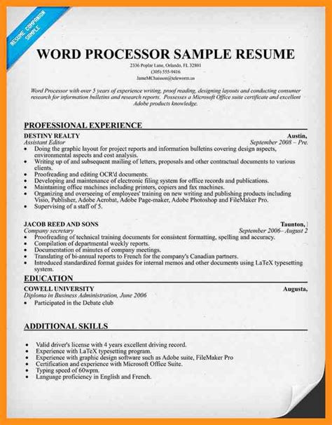 Resume Templates For Word Processor 10 word processor resume agenda exle