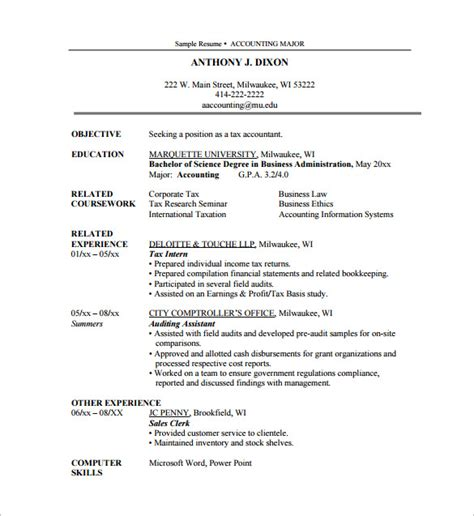 accounting intern resume exles sle resume for internship in accounting
