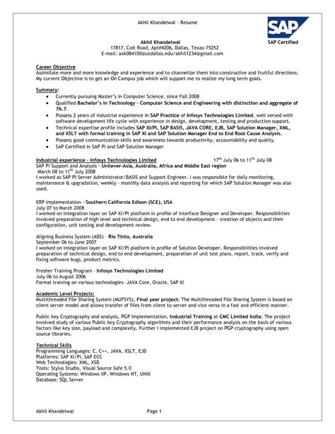 Erp Consultant Cover Letter by Sap Security Resume Resume Ideas