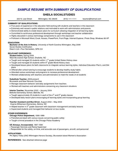 Resume Template Summary by Resume Summary Exles