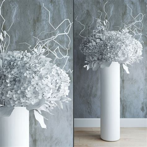 white hydrangeas in vase with willow branches 3d