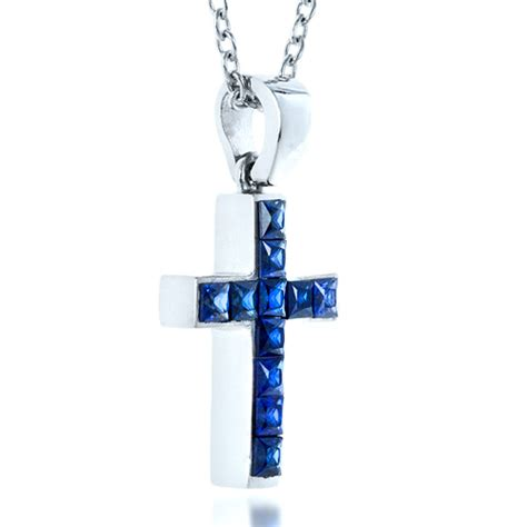 princess cut blue sapphire cross pendant 1323