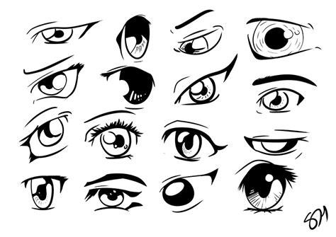 16 manga anime eyes line work done in manga studio by