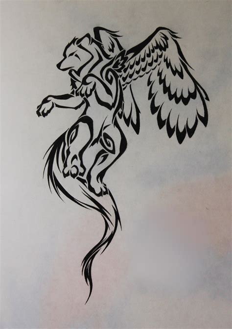 tribal winged wolf by crimsonwolf2016 on deviantart