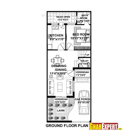 20 x 50 square feet home design house plan for 20 feet by 50 feet plot plot size 111