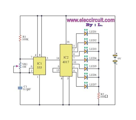 layout rangkaian running led 7 led light running adjust speed by 4017 and 555 circuit
