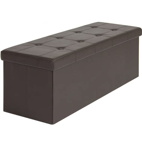 foot bench storage faux leather folding storage ottoman large brown bench