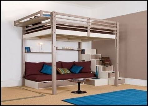 king size loft bed with stairs bunk bed with desk for adults woodworking projects plans