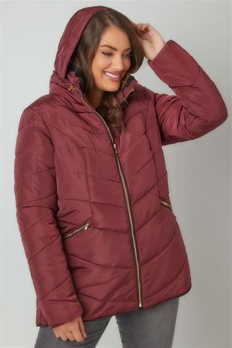 Swager Size 27 Burgundy burgundy quilted puffer jacket with foldaway plus size 16 to 36