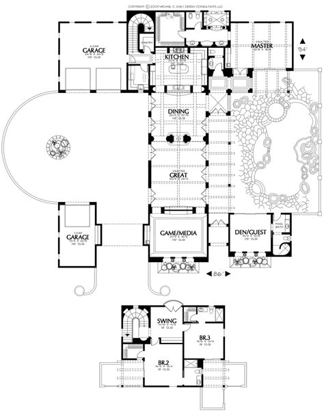 home plans house plan courtyard home plan santa fe style