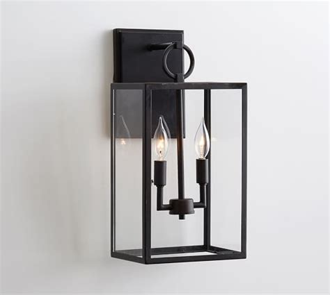 manor contemporary glass sconce pottery barn