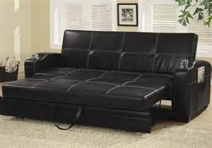 Modern Pull Out Sofa Bed Contemporary Living Room Pull Out Sleeper Sofa Bed Futon Bed Black Faux Leather Ebay
