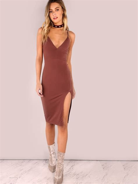 Shoo Bsy Brown v neck bodycon slit dress brownfor romwe