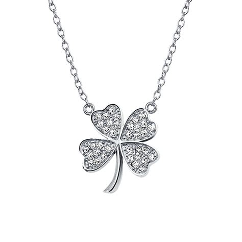 Clover Pendant Chain Necklace cz lucky four leaf clover sterling silver shamrock necklace