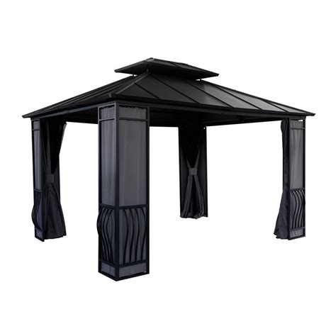 sunjoy wexford 10 ft x 12 ft steel gazebo l gz704pst