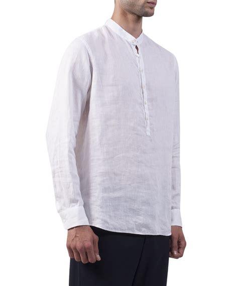 Linen Shirt lyst giorgio armani white linen shirt in white for