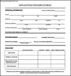employee application template employee application form sle sle templates