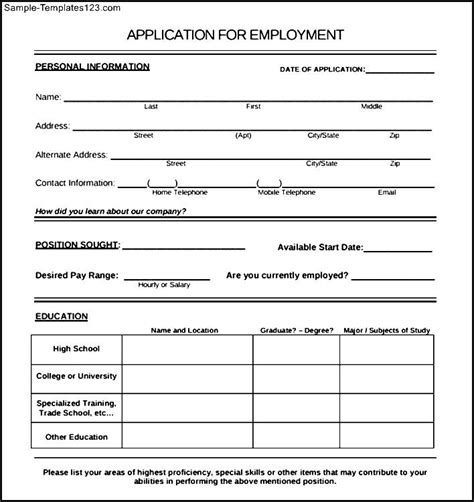 job application form sample  students weekly template