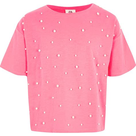Pearl Shirt pink faux pearl embellished t shirt t shirts