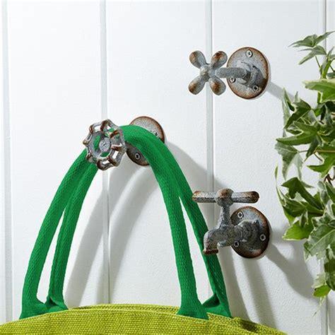 Vintage Garden Faucet Iron Wall Hooks Set Of 3 Garden Wall Hooks
