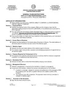 Llc Articles Of Organization Template by Llc Articles Of Organization Company Documents