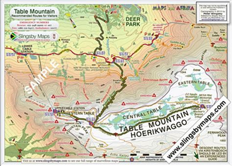 table mountain trail map cape peninsula freebies