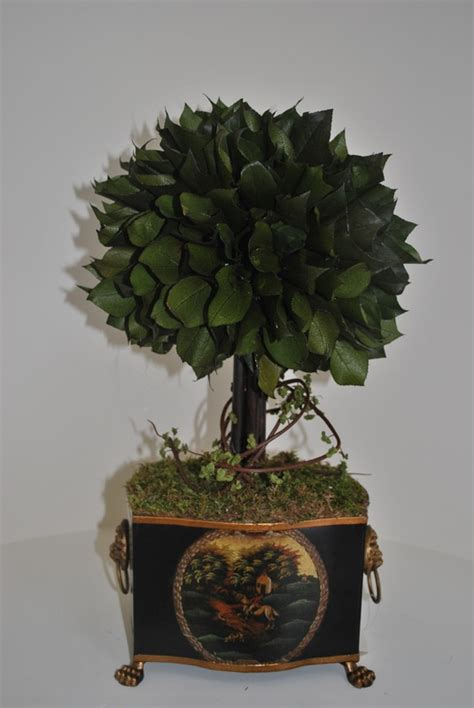 single lemon leaf topiary in tole container accessories