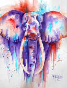 colorful elephant bold colorful elephant watercolor pianting purple orange