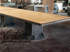 Beam table base vintage industrial furniture