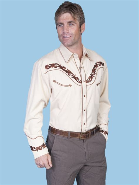 scully and scully ls scully 174 mens tan embroidered ls cowboy shirt