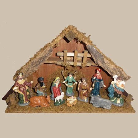 christmas stable walmart 11 painted porcelain religious nativity set with wooden stable walmart