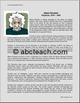 write a short biography of albert einstein biography albert einstein physicist middle abcteach