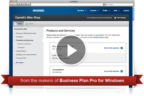 liveplan business plan template create a business plan quickly and easily bplans