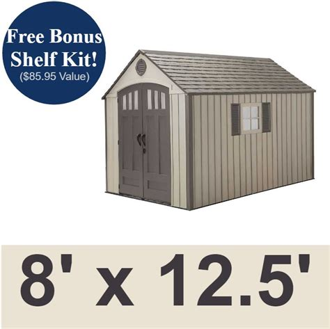 12 X 8 Plastic Shed by Lifetime Sheds 60086 8 X 12 5 Foot Plastic Storage Shed