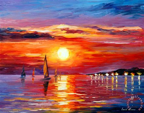 sculling boat painting 50 beautiful sunrise sunset and moon paintings for your