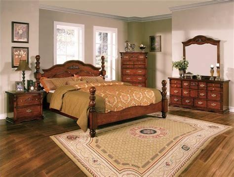 crown mark  pc coventry traditional dark pine queen bedroom sets   traditional