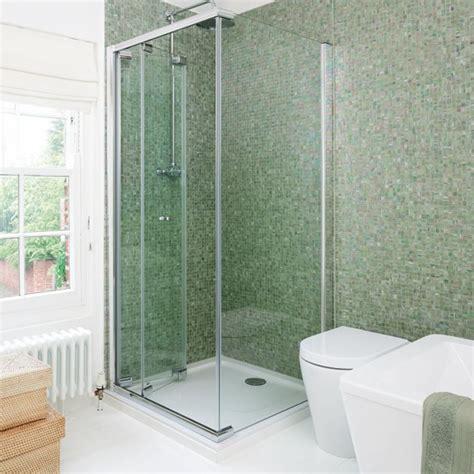 Modern Bathroom With Green Tiles Green Iridescent Mosaic Tiled Shower Modern Bathrooms