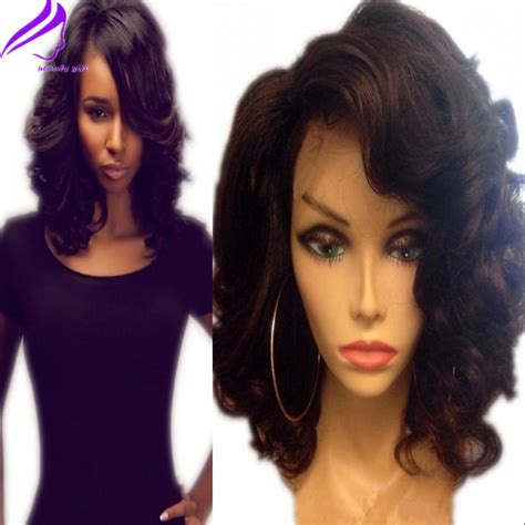 long bang with brazilian hair 150 high density short wavy synthetic lace front wig with