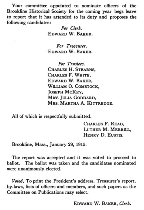 Nominating Committee Report Template 1915 Proceedings Of The Brookline Historical Society