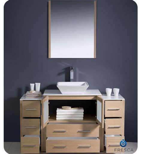 Bathroom Vanity Side Lights Fresca Fvn62 123012lo Vsl Torino 54 Quot Modern Bathroom Vanity With 2 Side Cabinets And Vessel Sink
