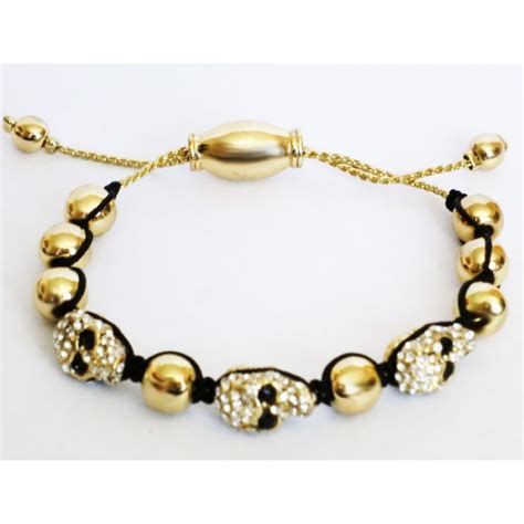 gold shamballa zirconmania shamballa skull braided bracelet in gold